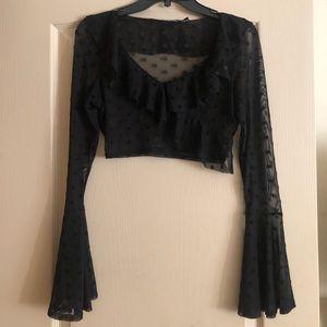NASTYGAL Black Lace Polka Dot Crop Top - 4